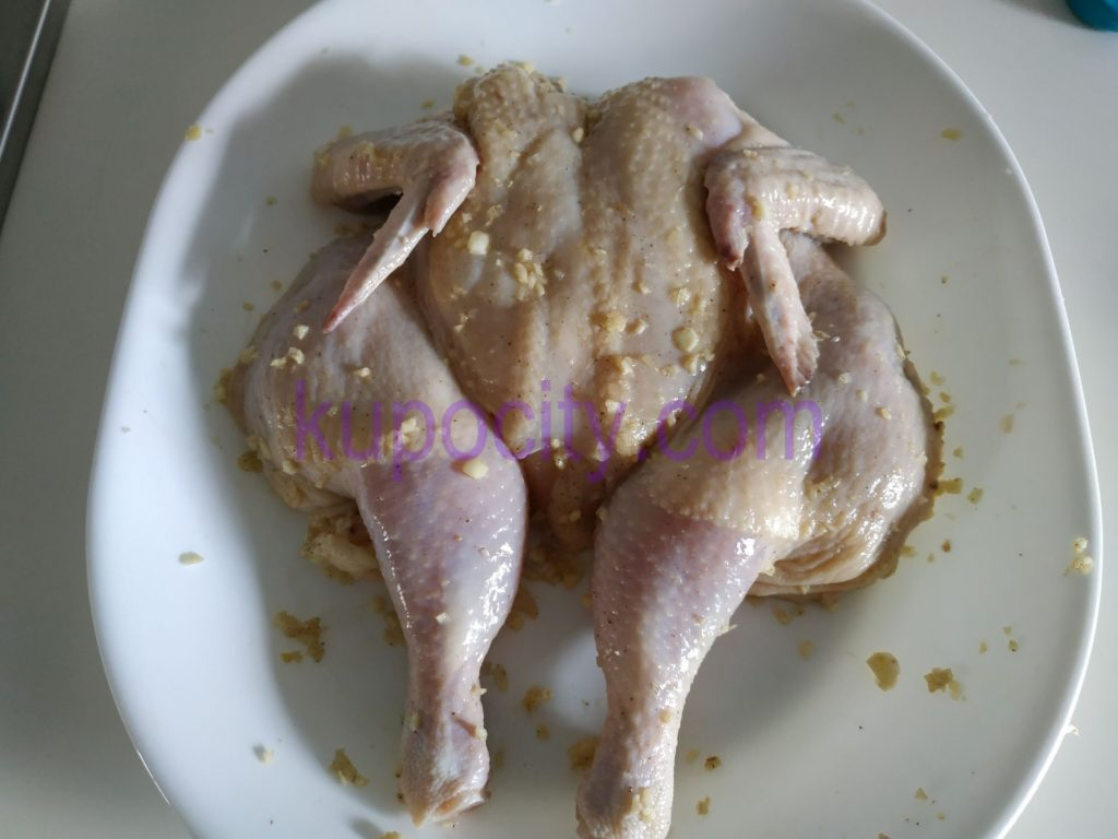 Apply Chicken Rub evenly onto chicken and let it sit for at least 30 minutes for the flavor to marinate the chicken.