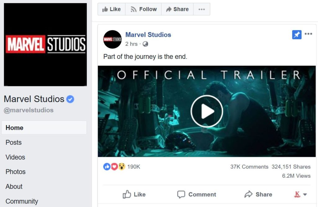 And within two hours, Marvel Studios facebook page has clocked 190k reactions and 37k comments, and million views. That is just two hours.