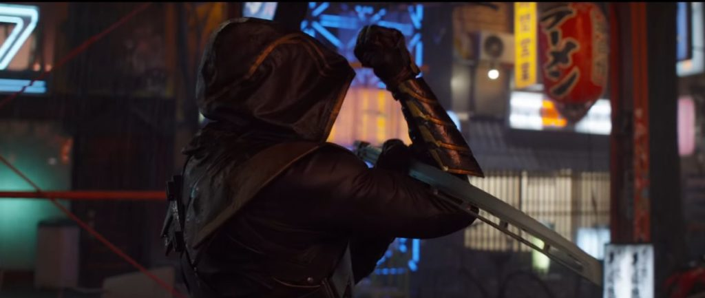 Clint Barton Ronin wielding his katana