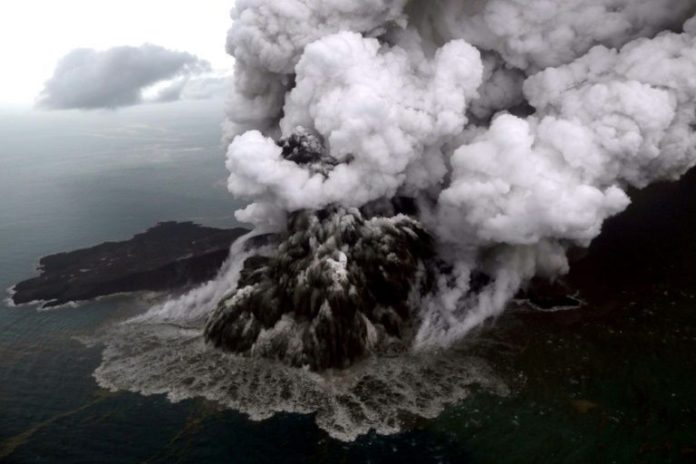Indonesian tsunami volcano Anak Krakatoa lost two thirds of its height