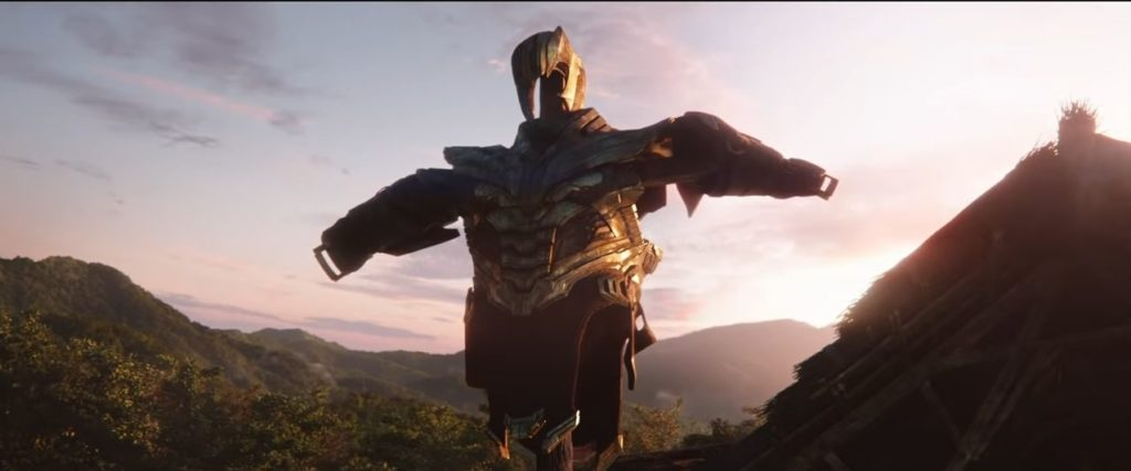 Thanos Armor hanging on scarecrow resembling the comics.