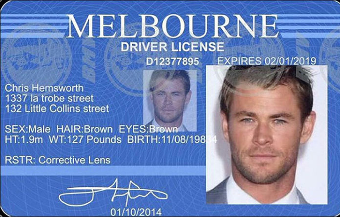 woman scammed by fake chris hemsworth Driver license