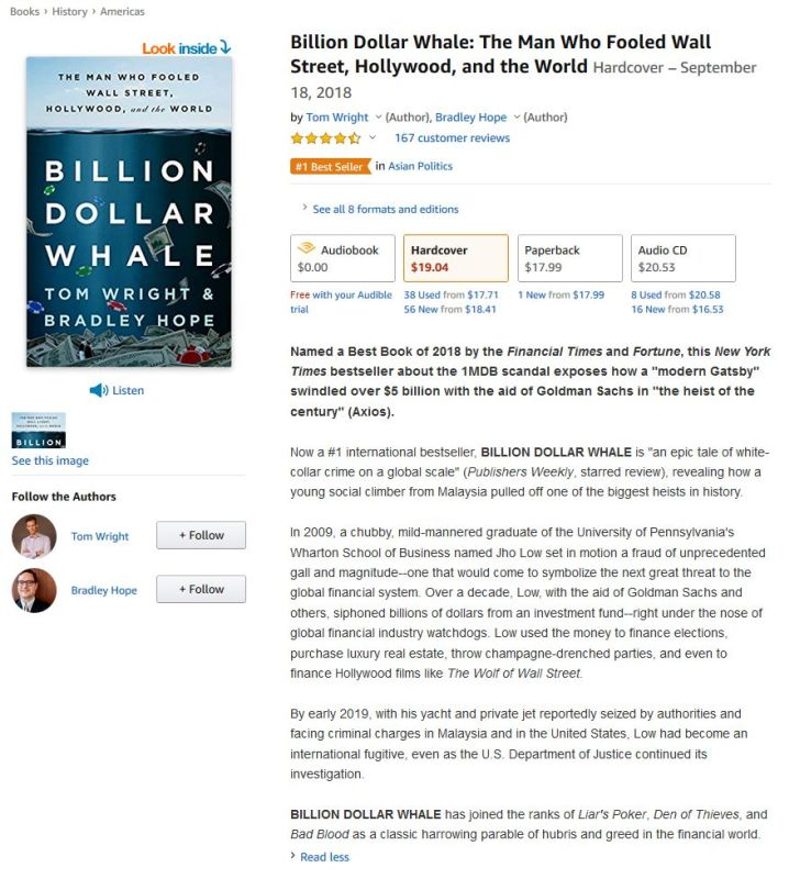 Billion Dollar Whale Book on Amazon.com