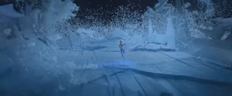 Elsa running against waves by using her powers to keep freezing patches of waves as steps