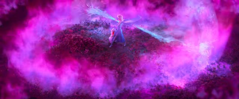 Elsa together with Olaf in what seems to be a heart shaped purple flame