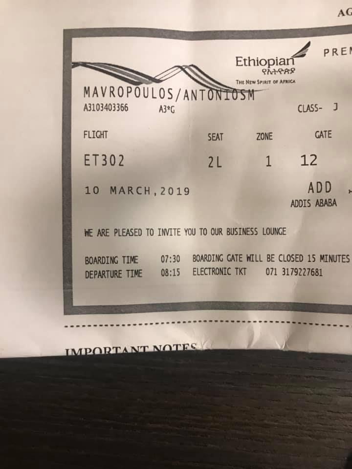 Ethiopian Airlines flight ET302 boarding pass belonging to Mr Antonis Mavropoulos
