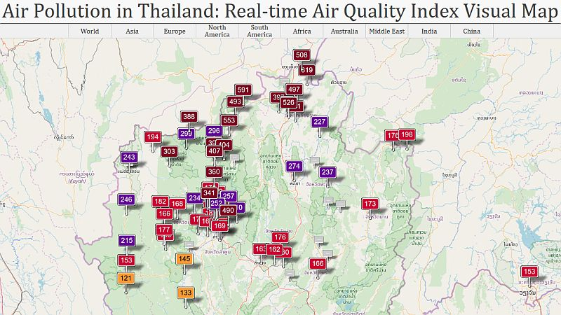 Thailand Air Quality Index on 30 Mar 2019