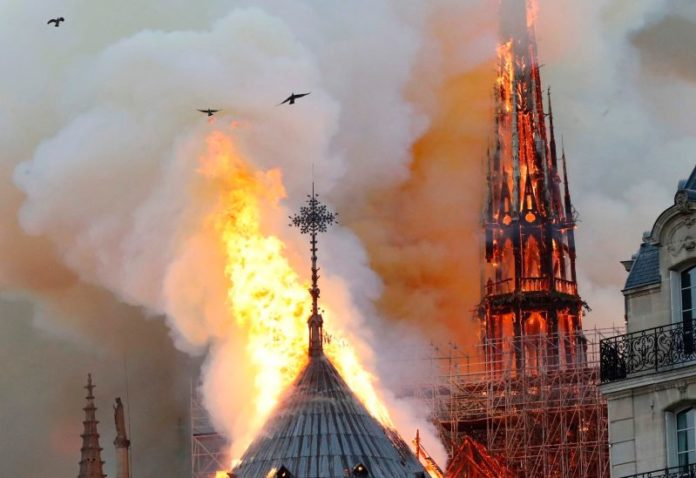 Paris Notre Dame Cathedral in flames
