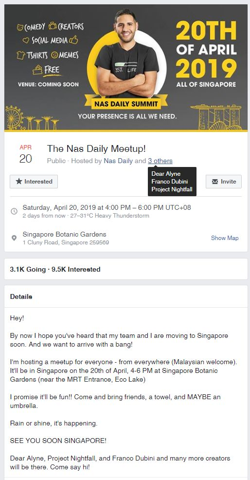 The Nas Daily Meetup Facebook Event Page