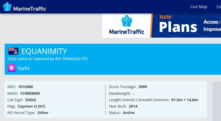Equanimity renamed to Tranquility Marine Traffic Screencapture