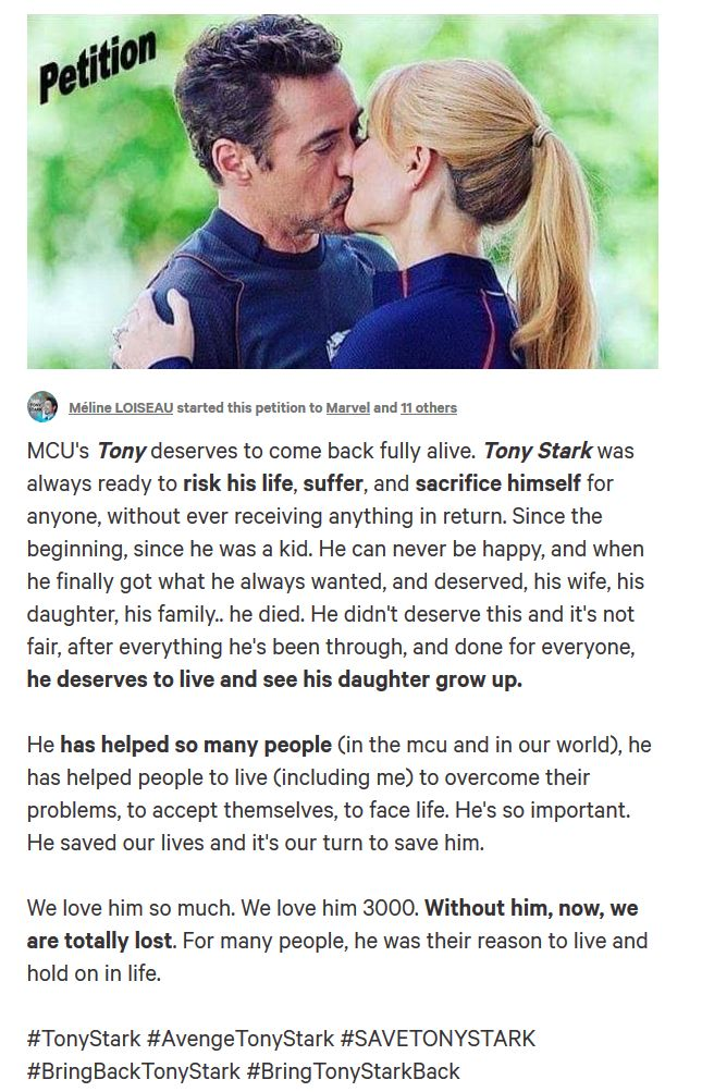 Bring Tony Stark back to life petition @change.org
