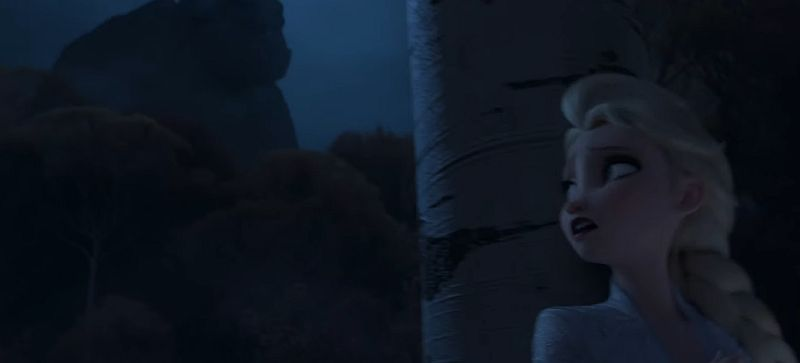 Elsa and Giant Monster in Background