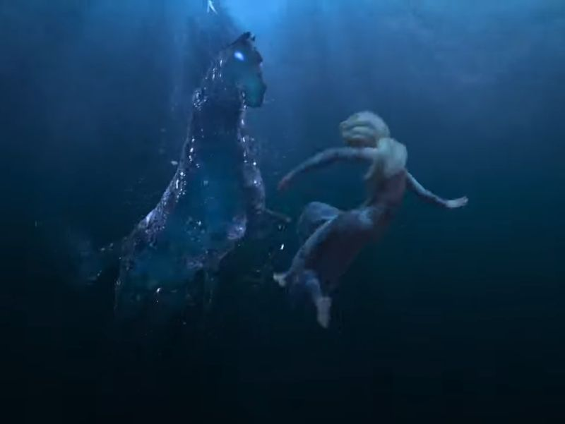Elsa encounters a magical horse underwater