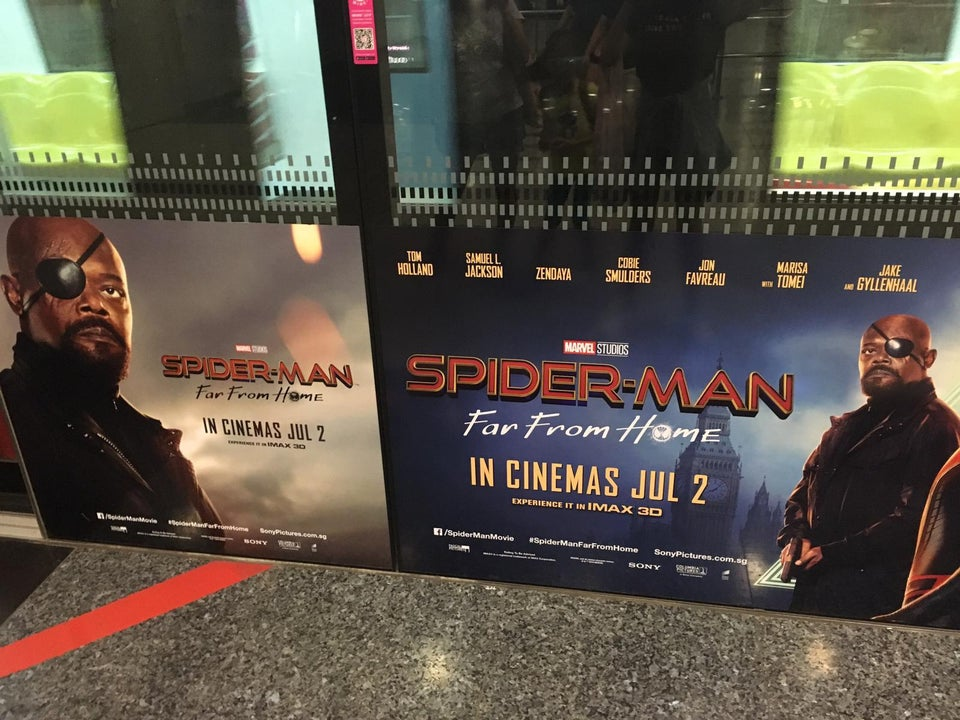 Spiderman Far from home Promotional banner - Nick Fury Eye Patch on wrong side