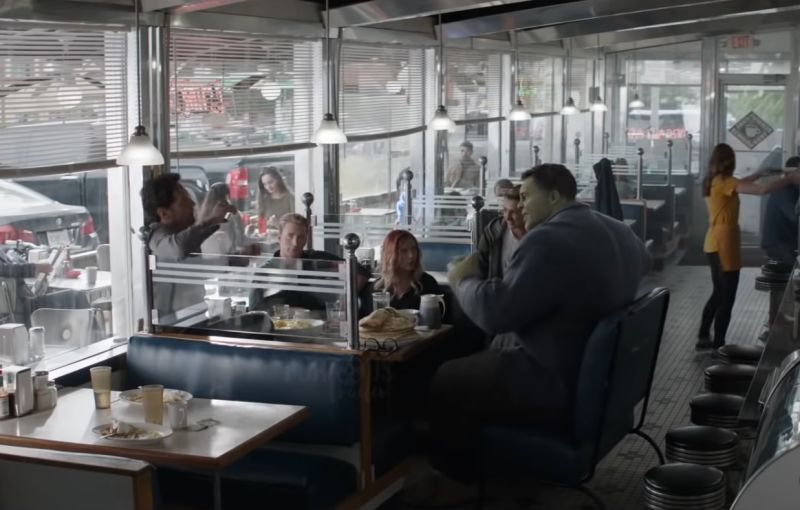 Youtube Trailer Screen Capture - Avengers Endgame - Meeting Professor Hulk at the cafeteria