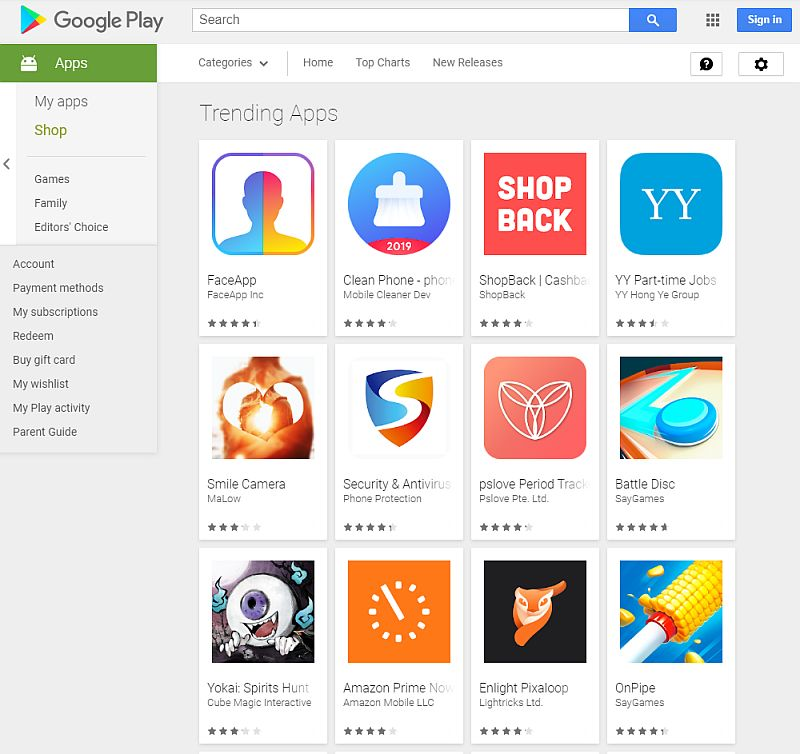 FaceApp is at the top of the Trending Apps list on Google Play Store - Screencapture 17 Jul 2019