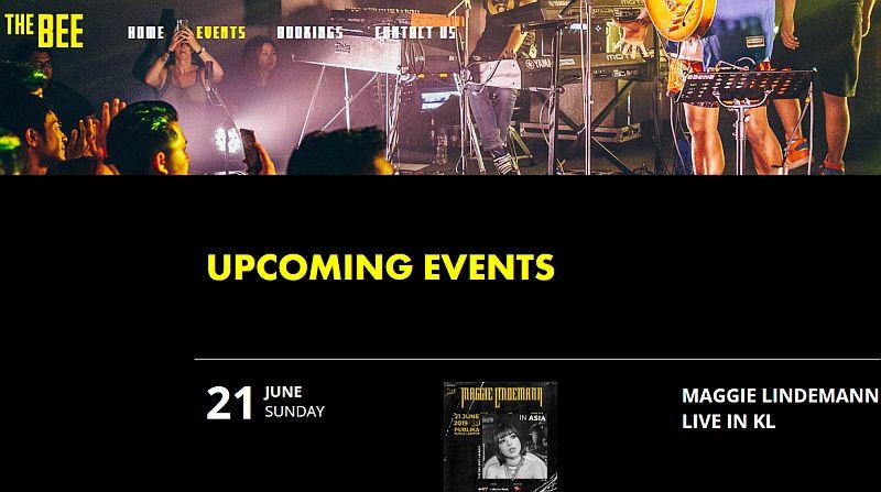 Screencapture - TheBee website Maggie Lindemann Upcoming Event